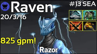 825 gpm! Raven [LOTAC] plays Razor!!! Dota 2 7.21