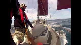Fisher 34: broad reaching near Portuguese coast