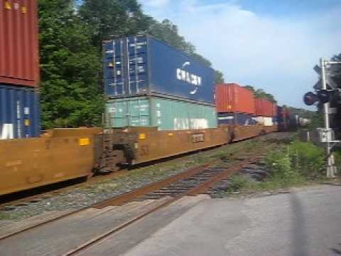 horn action ! =D CN Engines 2640 & 2404 lead this longg mixed freight w/ a friendly wave ! =D