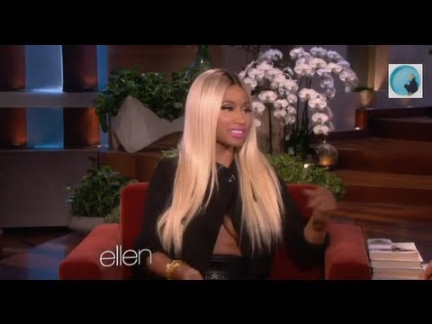 Nicki Minaj On Ellen With Revealing Topless Shirt Says I Hate Bras! Bras are the devil