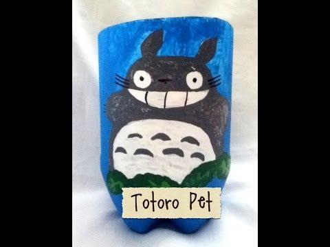Macetero porta lápiz de botella Pet reciclaje totoro pintura acrílica