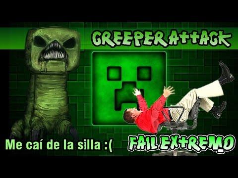 MINECRAFT CREEPER ATTACK: ME CAI DE LA SILLA... Fail Extremo