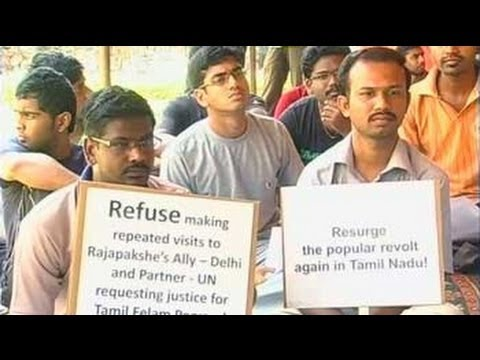 Large student protests in Tamil Nadu against Sri Lanka