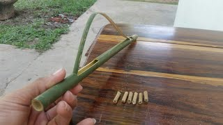 Making Easy Bamboo Toy Gun at Home