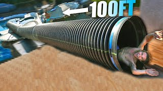 Built 100FT TUBE WATERSLIDE with SEWER PIPES!