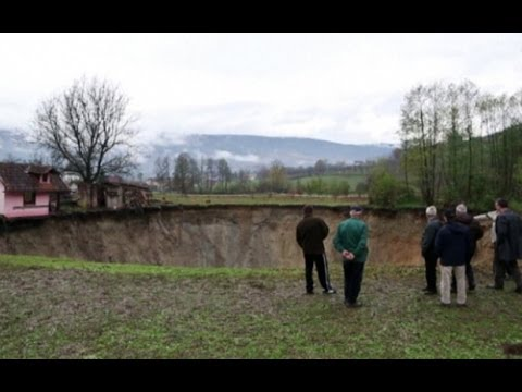 Sinkhole swallows Bosnian pond overnight