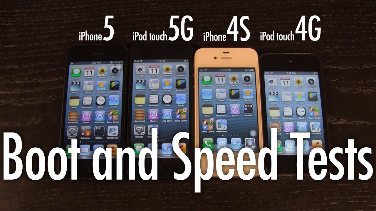 Boot and Speed Test: iPod Touch 5G vs iPhone 5, 4S vs iPod ...