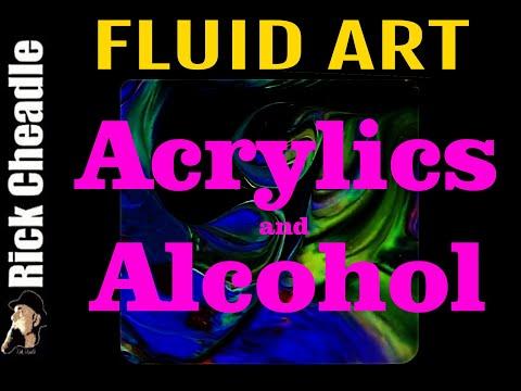 Acrylic Paints and Isopropyl Alcohol using napkin rings and drywall tool
