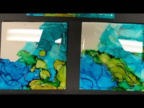 Alcohol ink/resin on tile Epoxy Art ....