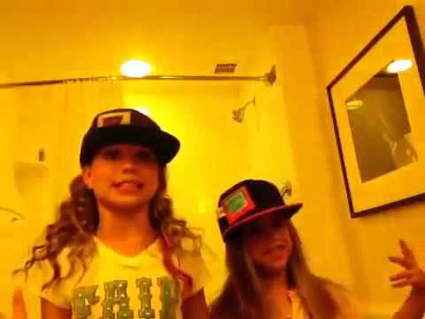 Maddie & Kenzie playing with Aunt Neya's iPad in the bathroom