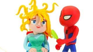 FROZEN ELSA NEEDS TO BRUSH HER HAIR ❤ Spiderman, Hulk & Frozen Elsa PlayDoh Cartoons For Kids