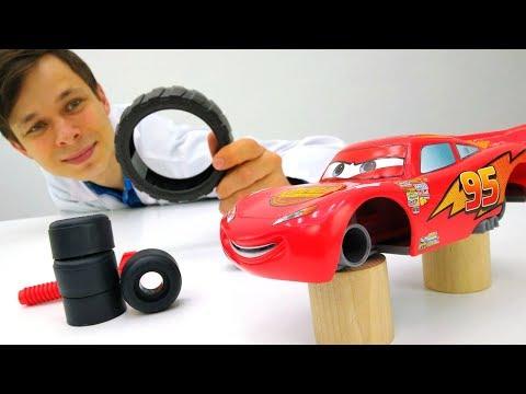 Машинки Маквин переобуваются для гонки. Игры для мальчиков