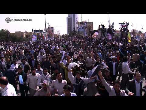 Massive crowd of sunnis and shias welcoming Ayatollah Khamenei