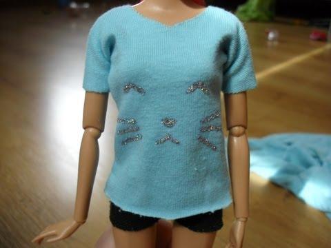Как сшить из футболки платье для куклы