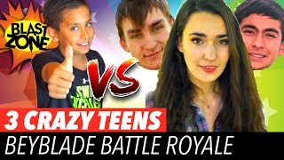 Beyblade Burst Battle Royale vs 3 Crazy Teens! Epic Beyblade Battle, Tournament, and Funny Video!