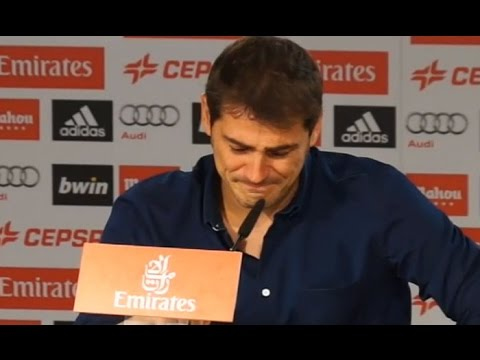 Iker Casillas cries during his farewell ceremony