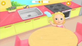 Sweet Baby Girl Fun Cleanup Kitchen- Kids Learn how to do Daily House Chores