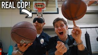 Challenging a POLICE OFFICER to Basketball Trick Shot WORLD RECORDS *and HORSE rematch*