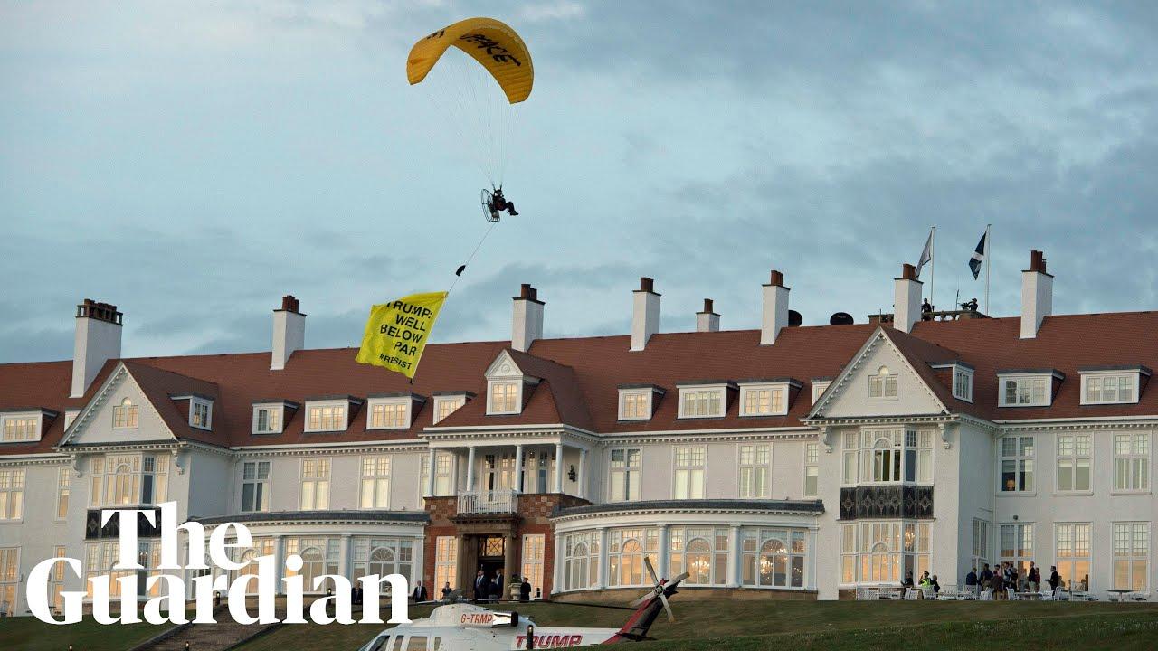 'Well below par': protesting paraglider flies over Trump's Scotland resort