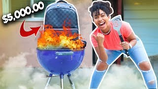Burned My Bestfriends $5000 Louis Vuitton Bag Revenge prank! *She Kicked Me out*
