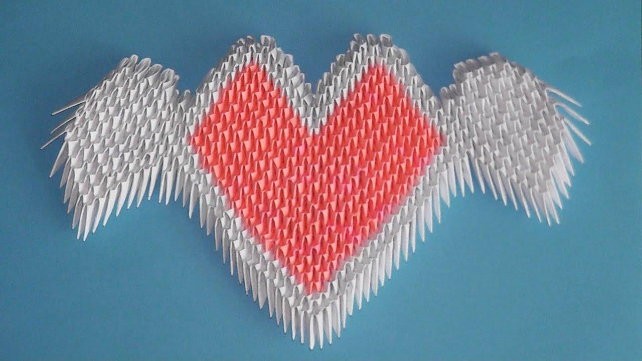 Оригами из модулей сердце тебе схема