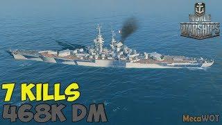 World of WarShips | République | 8 KILLS | 468K Damage - Replay Gameplay 1080p 60 fps