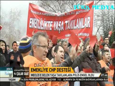 EMEKLİLİKTE YAŞA TAKILANLARA MECLİSDE POLİS ENGELİ-TBMM-FOX-ÇALAR SAAT-(29/01/2014)-TÜRK MEDYA