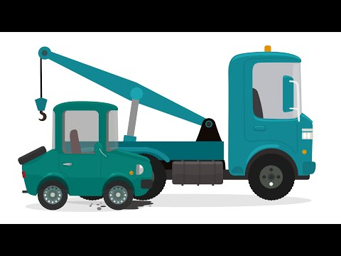 Car cartoon. Tow truck and cars for kids.