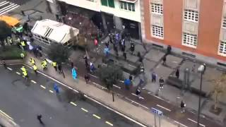 Marseille Fans kick the ass of Bilbao Fans in Spain ! #Hooligans