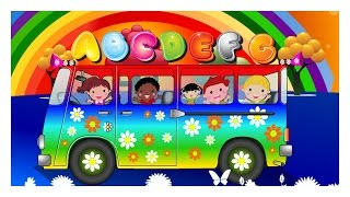 THE Wheels On The Bus With | Color Full  Rainbow ABCD song | Nursery Rhymes and Baby Songs Youtube