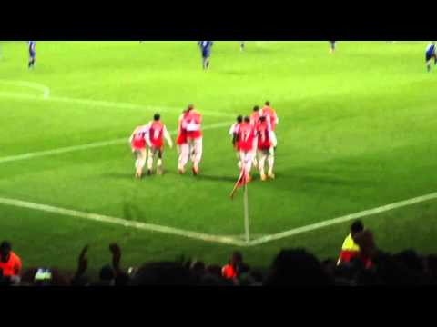 Theo Walcott Goal Celebration Arsenal 2-0 Cardiff