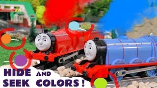 Hide and Seek Game with Thomas and Friends Trains and Play Doh Lollipop Colors for kids TT4U