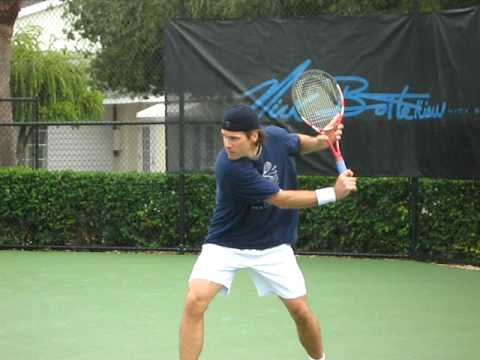 Tommy Haas practicing at Academy Video