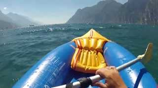 Inflatable rowing boat on lake Garda 2013