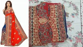 Heavy Embroidery Saree review/try on from Amazon|saree online shopping
