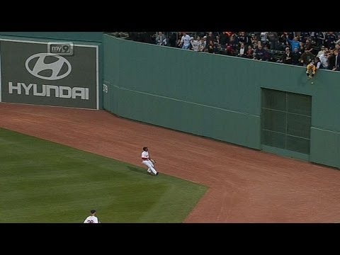 4/22/14: In his first at-bat in his return to Fenway Park, Jacoby Ellsbury reaches on a triple as a fan interferes in center field Check out http://m.mlb.com/video for our full archive of...