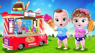Ice Cream Song - Funny Babies Eats From Ice Cream Truck Toys | Nursery Rhymes & Kids Songs