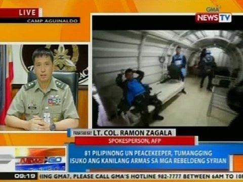 NTG: 81 Pinoy UN peacekeepers, tumangging isuko ang kanilang armas sa Syrian rebels