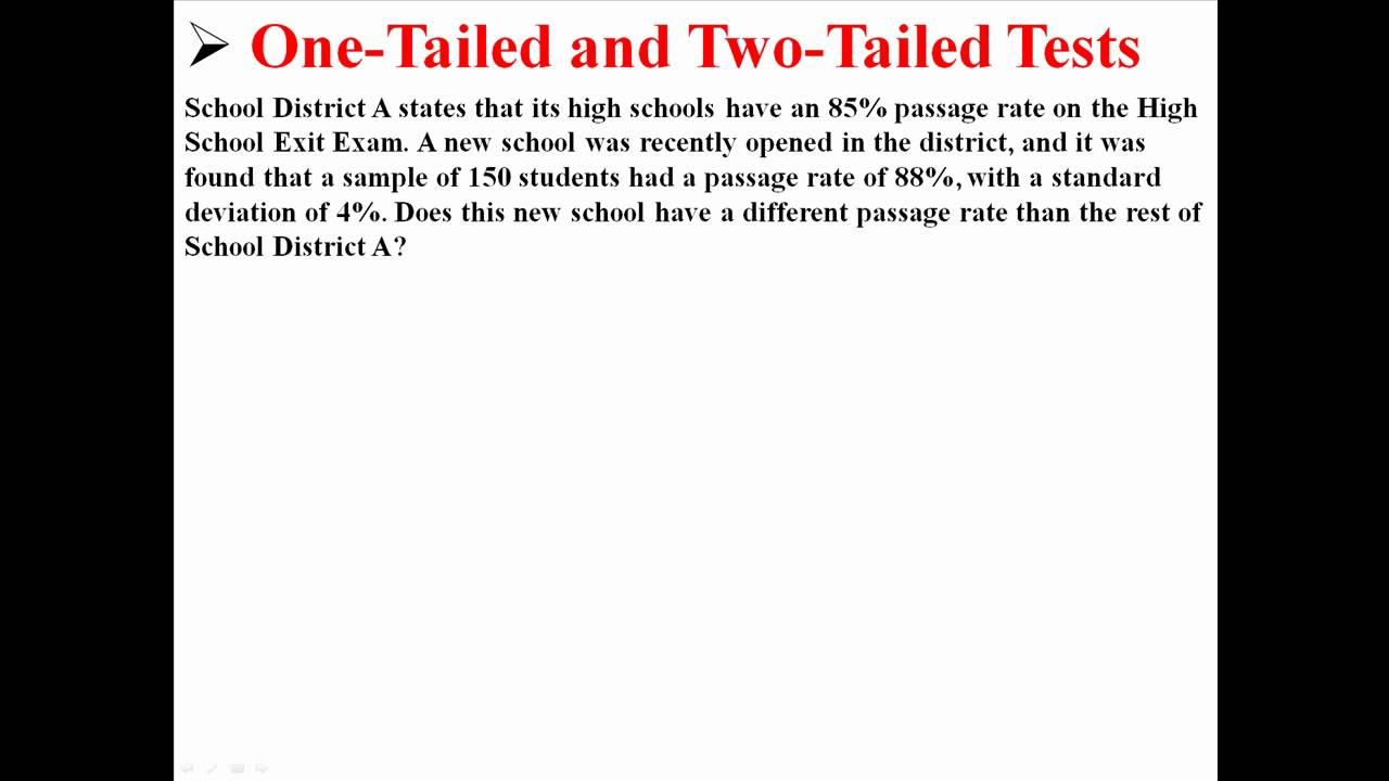 One Tailed And Two Tailed Tests Youtube