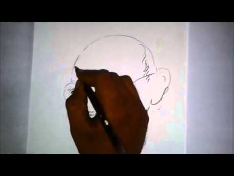 how to draw mahatma gandhi