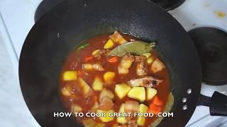 Paano magluto Pork Afritada Recipe - Filipino Cooking Pinoy Tagalog