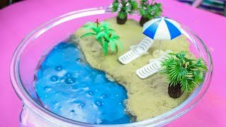 DIY Kinetic Sand beach Slime Kids learning play doh How to make miniature DIY beach