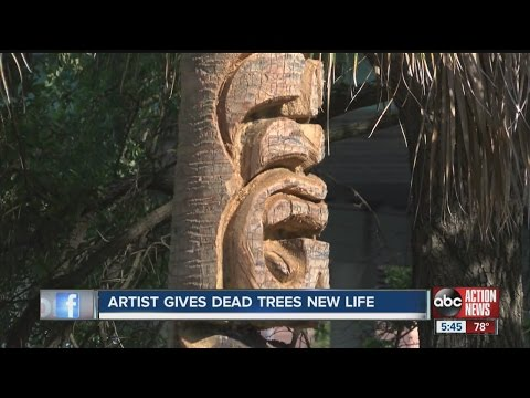 Artist gives dead trees new life