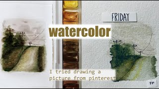 I TRIED FOLLOWING A PINTEREST WATERCOLOR TUTORIAL || Watercolor tutorial || my first time || #2