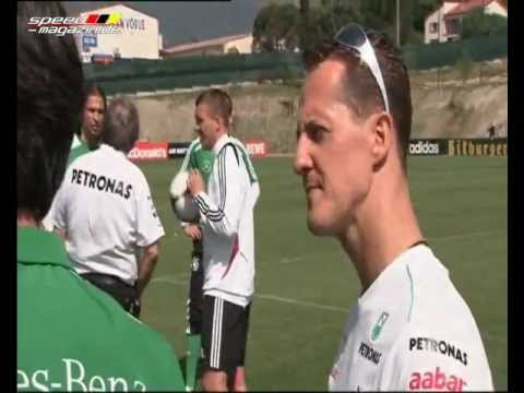 Formula 1: Drivers Michael Schumacher and Nico Rosberg Showing off their Footballing Skills