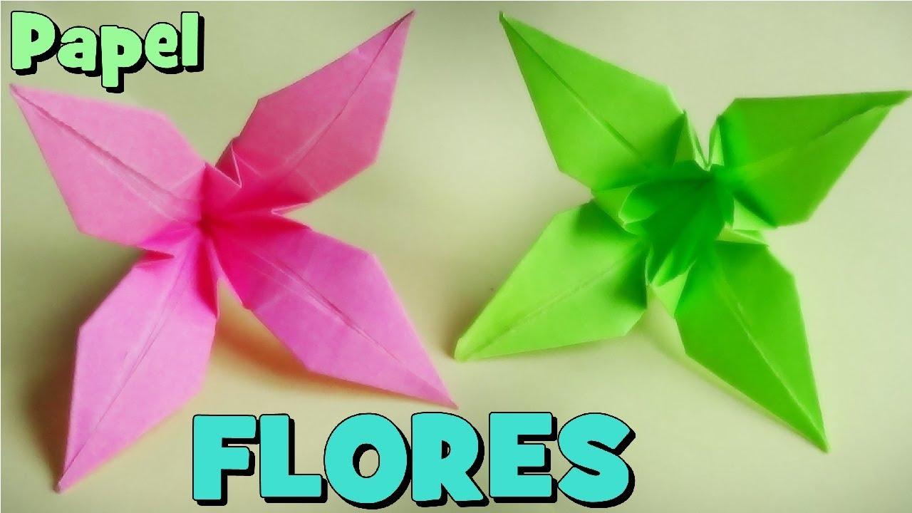 C mo hacer una flor de papel origami lirio youtube - Como hacer flores ...