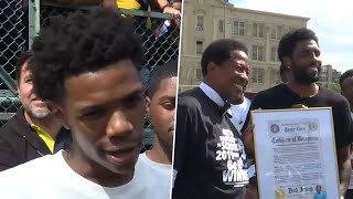 A Boogie Wit Da Hoodie &  Kyrie Irving Surprises Kids in the Bronx | NBC New York