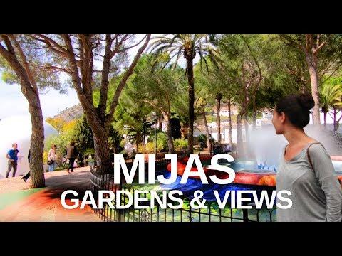[4K] MIJAS, MALAGA, SPAIN TOUR - Bullring area, gardens and views