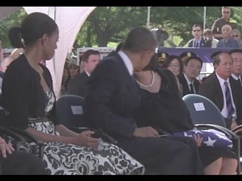 Obama Hugs Sen. Inouye's Widow At Funeral In Hawaii
