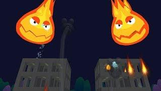 Xe Cứu Hỏa Chữa Cháy Trong Đêm Tối – Xe Cứu Hỏa Phun Nước Tiêu Diệt Quái Vật Lửa Ngoan Cố